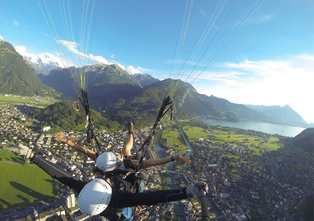 Interlaken's gorgeous mountain peaks and cobblestone roads were even more awe-inspiring from the sky!