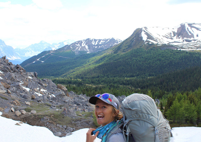 Backpacking through the Canadian Rockies in Skoki Area, Banff National Park.