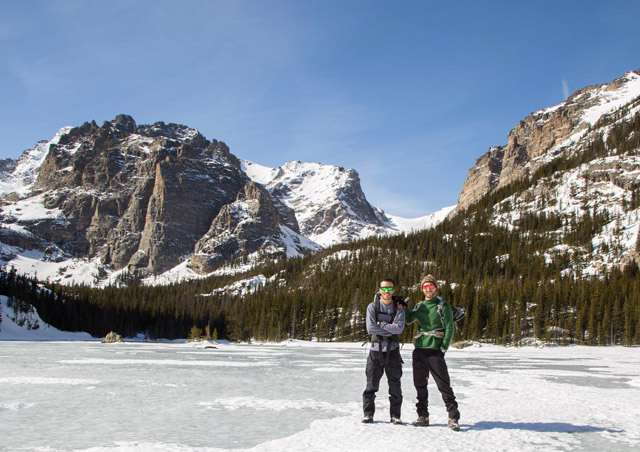 Hiking up to Sky Pond in winter to scout a climb in Rocky Mountain National Park.