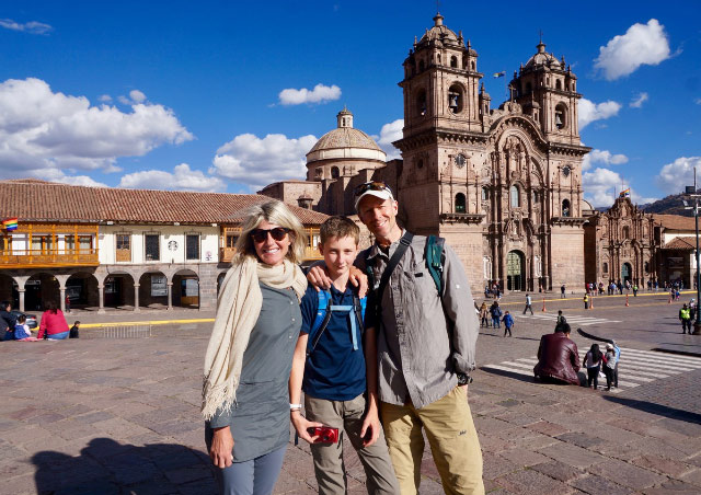 Cusco in 2018 with my wife, Kath, and son, Gus.
