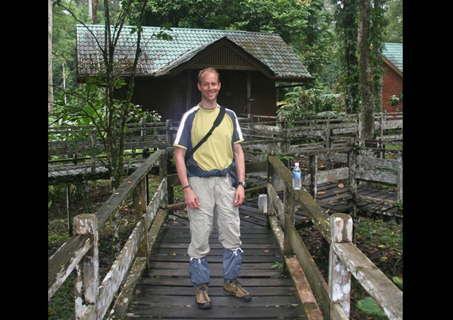 Sporting my new leech socks in Borneo.