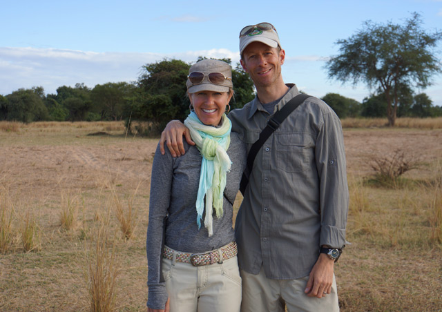 On a walking safari in South Luangwa Nat'l Park, Zambia, with my wife Kath.