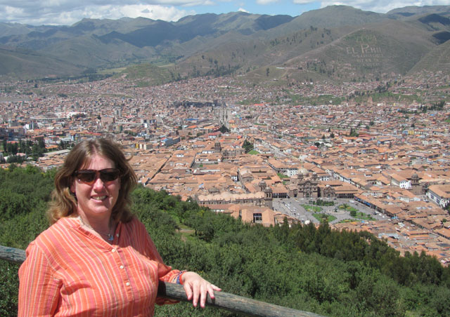Enjoying a beautiful view of Cusco