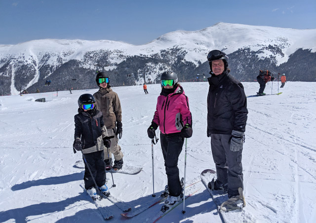Skiing/boarding with my family, Copper Mountain, Colorado.