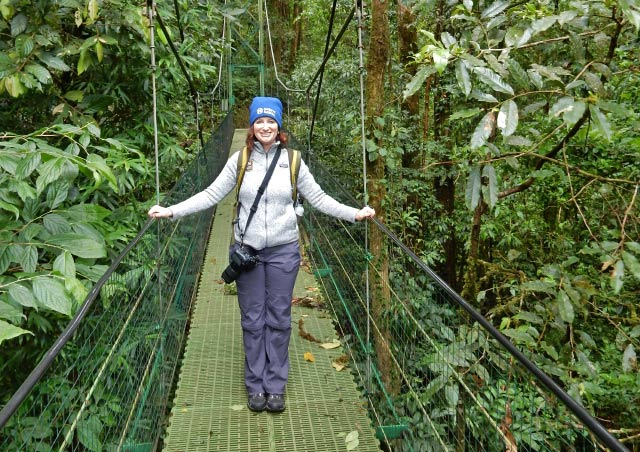Enjoying the cloud forest canopy view in Monteverede, Costa Rica.