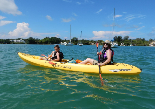 Kayaking with my son in the Gulf of Mexico, near Anna Marie Island, Florida.