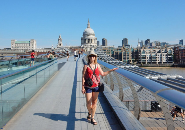 Crossing the London Millennium Footbridge above the river Thames.  Traveling with my husband in 2018.