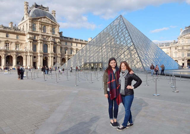 Visiting the Louvre in Paris, France with my daughter.