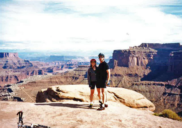 Mountain biking the 100-mile White Rim Trail with my husband and friends in Canyonlands National Park, Moab, Utah.