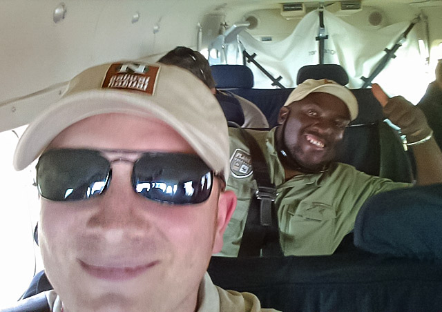 On a Bush flight in Botswana with our NHA guide Lazi