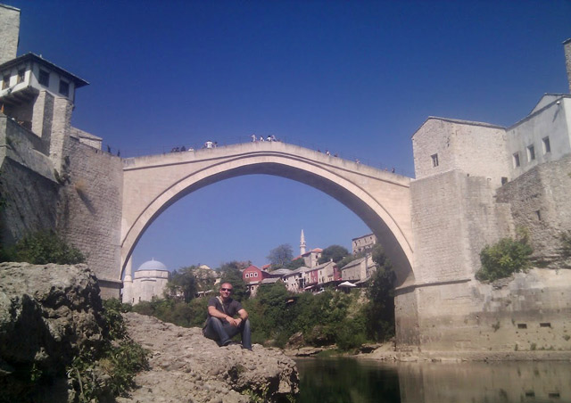 Under the famous Mostar Bridge in Bosnia & Herzegovina