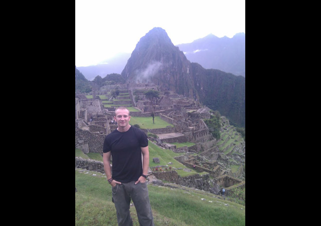 John arriving in Machu Picchu after completing the Salkantay Trek