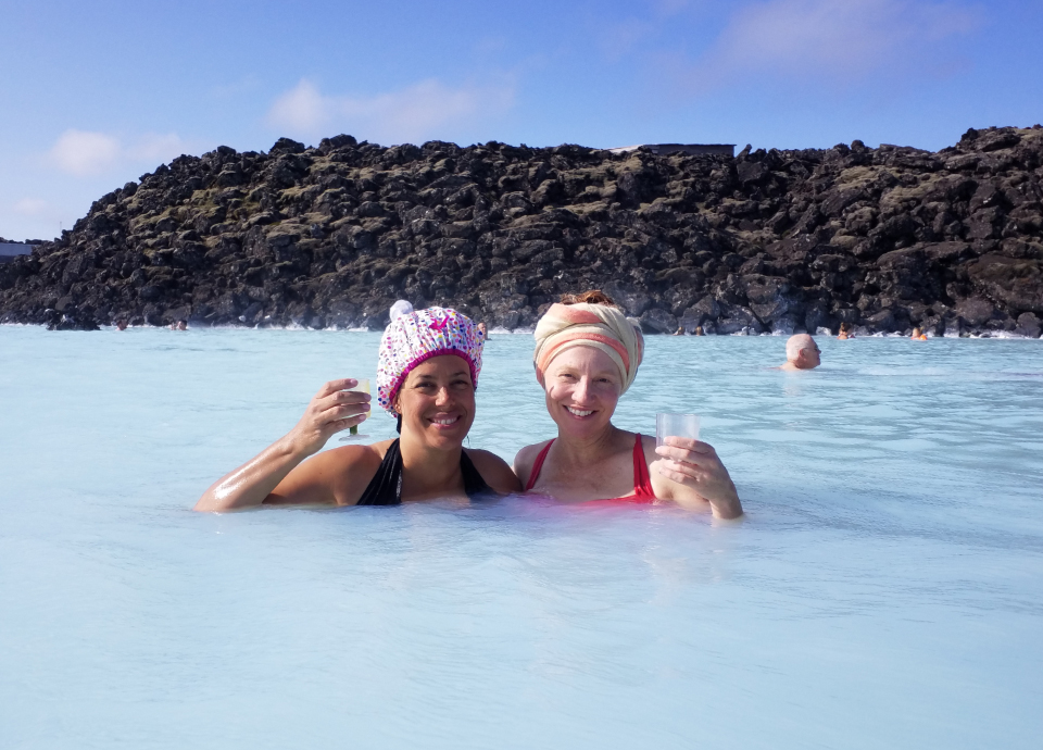 My coworker, Rachel, and I enjoying a soak in the Blue Lagoon in Iceland.