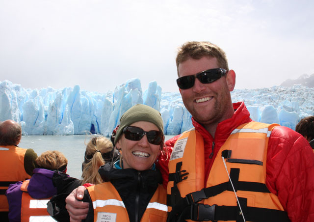 Standing with my brother Todd, in front of Glacier Grey in Patagonia. We drank a pisco sour poured over ice cracked from a piece of glacial ice fished from the water just moments later!