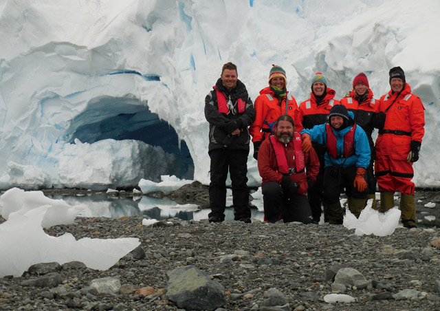 We happened upon this spectacular glacial ice cave during a beach walk in Antarctica.