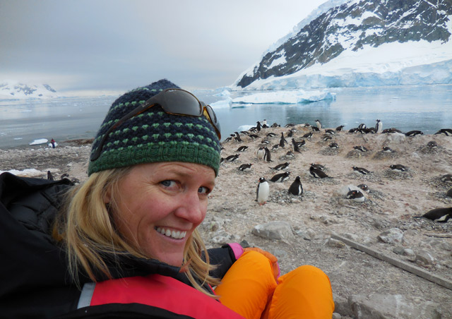 """Selfie"" in a Gentoo penguin colony. While I was sitting here, the glacier calved across the bay, causing a tsunami!"