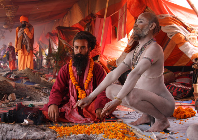 I was blessed by sadhus, some of whom have taken a vow to wear only ashes, at the Kumbh Mela in India.