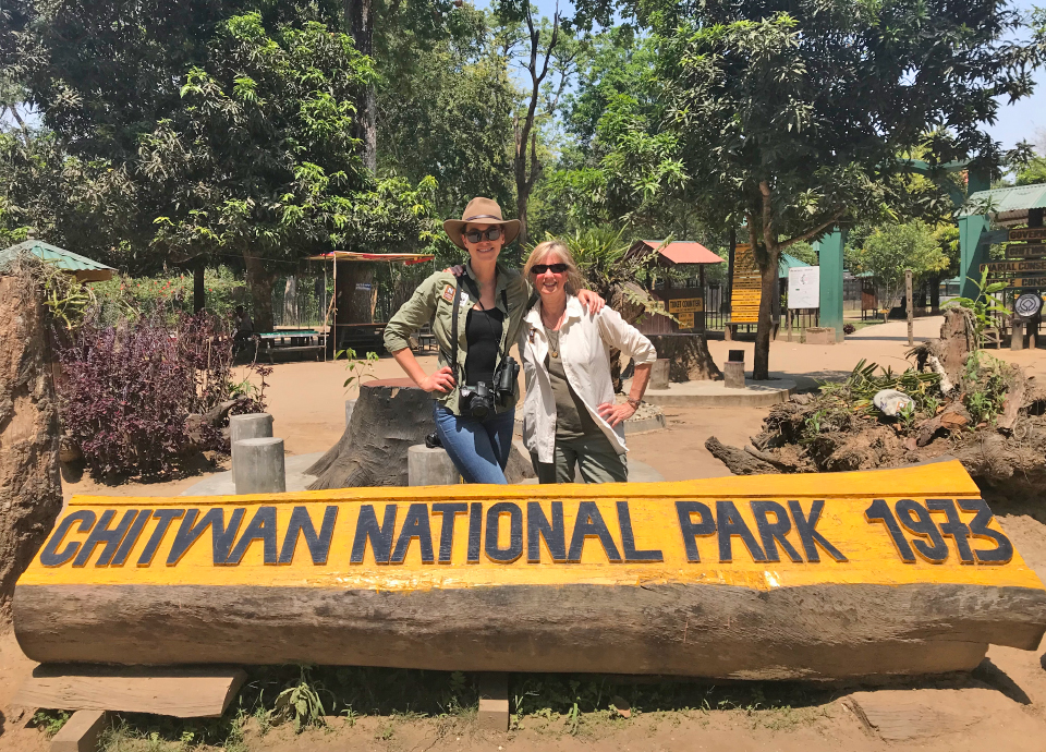 My coworker, and travel buddy, Val and I at Chitwan National Park in Nepal.