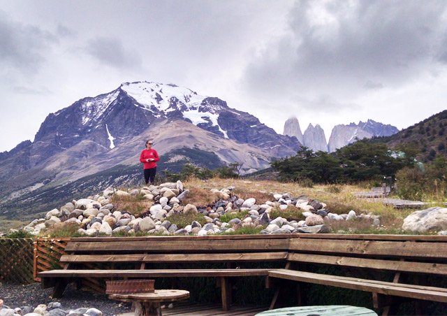 Checking out the view at Eco Camp Patagonia.