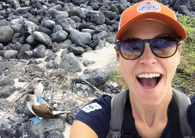 Booby selfie! Our first hike in the Galapagos on North Seymour. The birds were everywhere!