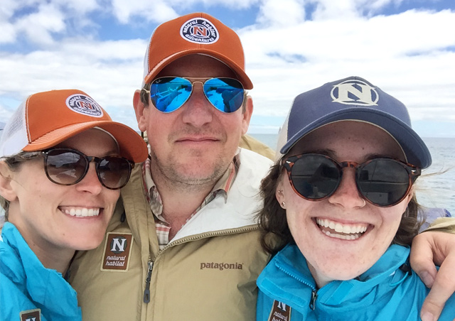 Three's company in the Galapagos! Aboard the Nemo III with coworkers Mark Hickey and Ellie Milner.