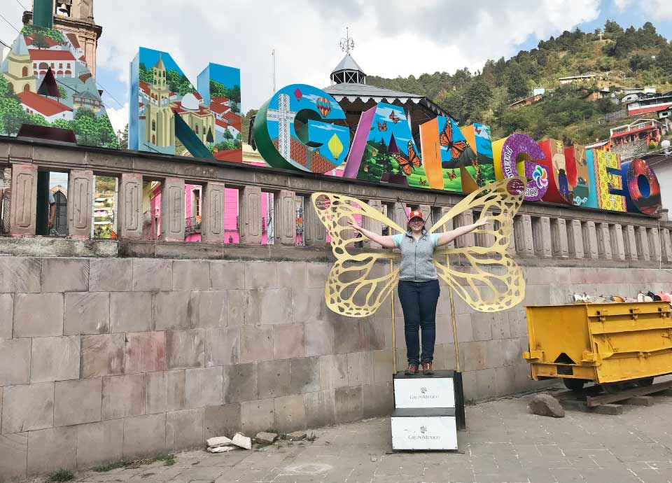 Channeling my inner butterfly in Angangueo – the jumping off point for our monarch butterfly sanctuary visits.
