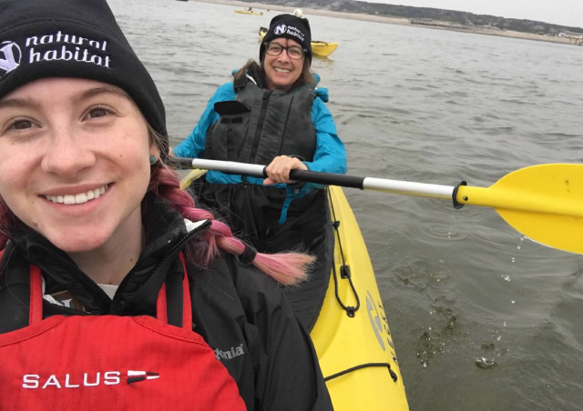 Kayaking with mom and the belugas in Churchill.