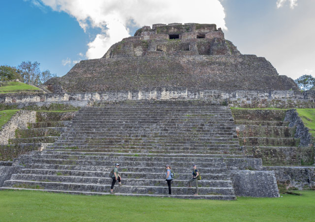 "Climbing the steps of the majestic ""el Castillo"" at Xunantunich, Belize with some of my travel companions."