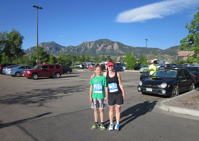 My son and me before the start of the 2013 Bolder Boulder.