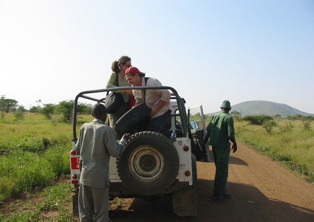 One of MANY flat tires in Serengeti. Thanks to Tanzania National Park staff for all the help!