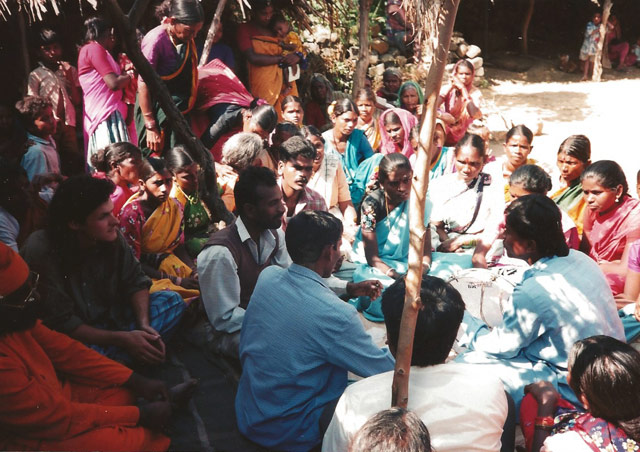 Joining a community meeting in a village near Hyderabad, India.