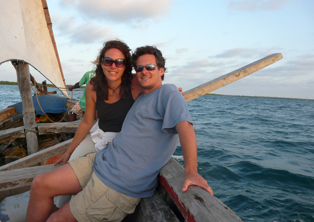 Sailing on a dhow off the coast of Lamu Island, Kenya, home of the longest-inhabited Swahili town in the world.