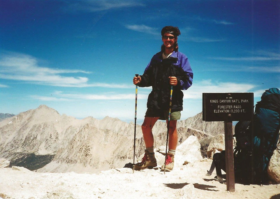 On top of 13,200 ft. Forester Pass while through-hiking the 210-mile John Muir Trail. One of the best experiences of my life!