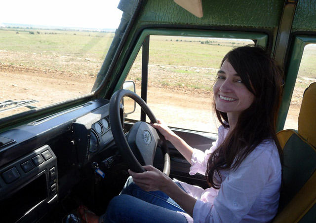Trying my hand at driving on the other side of the road in the Maasai Mara, Kenya.