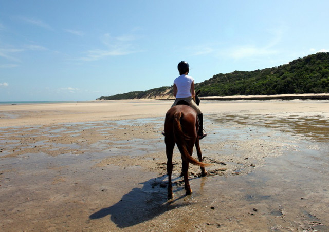 Horseback riding on Benguerra Island off the coast of Mozambique. This is a great spot to go after a good safari - horseback riding optional!