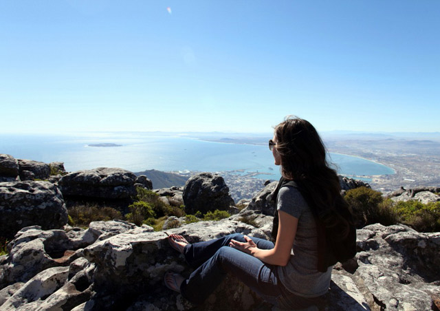 The view from Table Mountain in Cape Town, South Africa. You can see Robben Island, the new Green Point Stadium built for World Cup 2010 and all of Table Bay. Stunning!