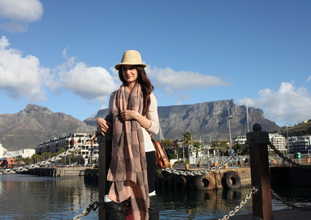 On the V&A Waterfront in Cape Town with Table Mountain in the background.