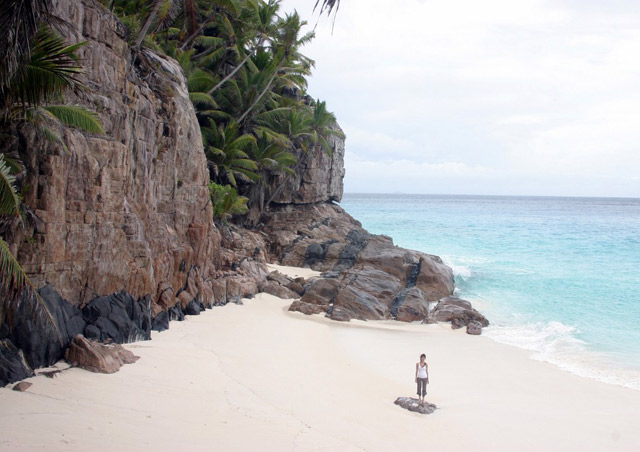 Ah, the cliff hung beaches of Fregate Island in Seychelles, in the middle of the Indian Ocean.