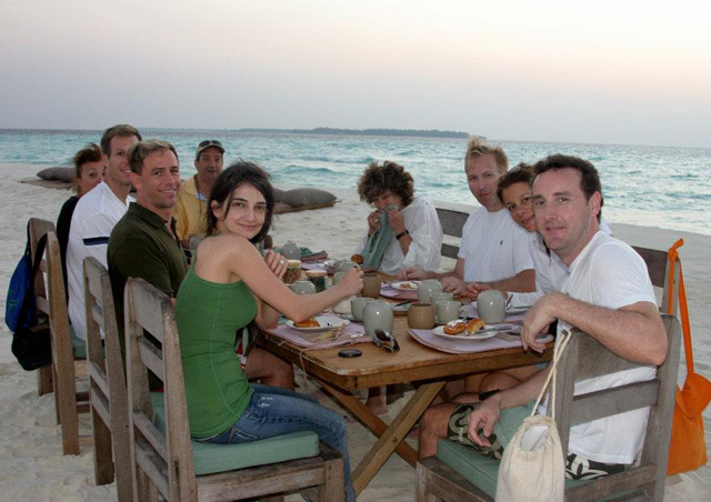 A sunrise breakfast on a spit of sand in the Indian Ocean, just off Soneva Fushi island in the Maldives.