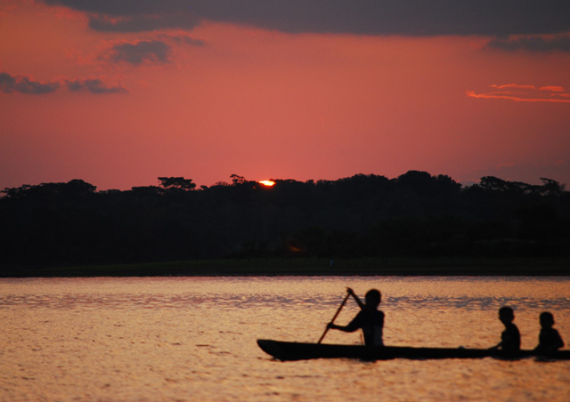Sunset over the Amazon basin in Peru