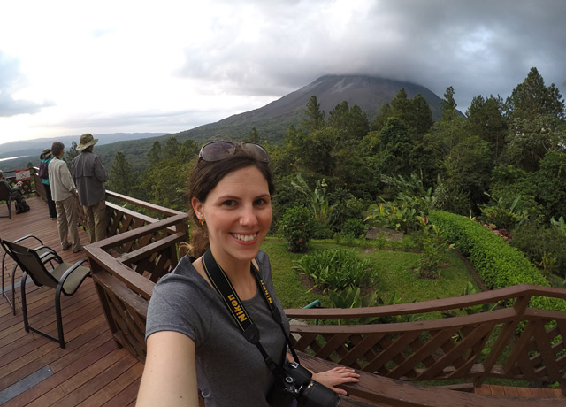 Enjoying the view of Arenal volcano from the Arenal Observatory Lodge in Costa Rica. We stay here on our Natural Jewels of Costa Rica adventure.