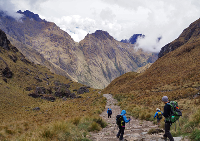 Hiking down from the highest point along the Inca trail—Warmiwanusca, 'Dead Woman's Pass.'