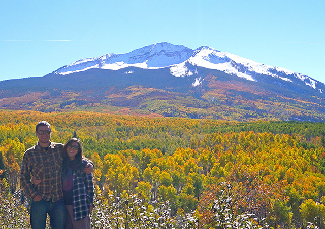 Surrounded by the vibrant colors of autumn along Kebler Pass in southwest Colorado.