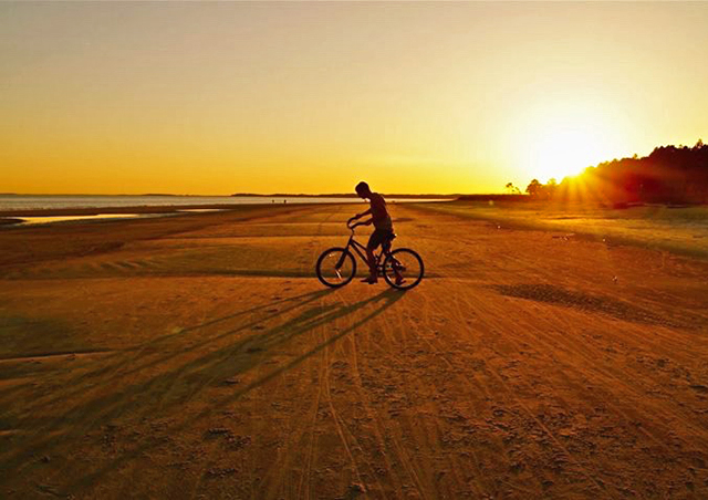 Biking on the hard-packed sand of the Hilton Head beaches in South Carolina.