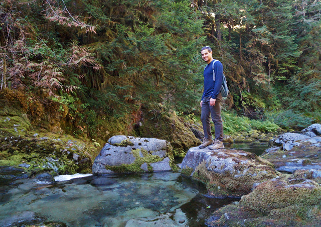 Exploring the ancient forests of the Opal Creek wilderness in Oregon.