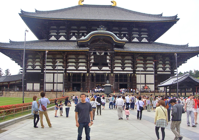 Standing outside the Todai-ji Daibutsuden, 'The Great Buddha Hall,' in Nara, Japan.