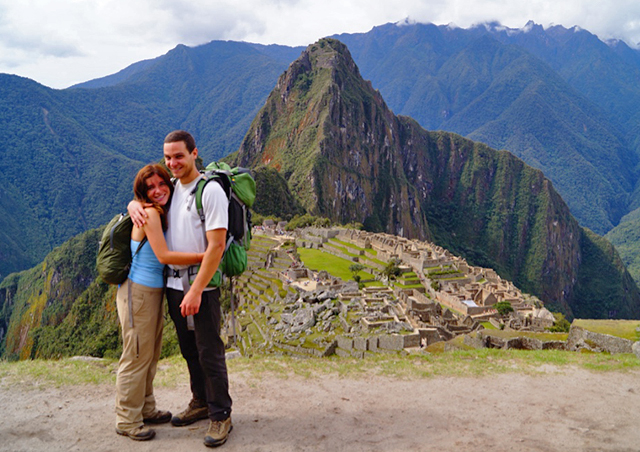 Arriving at Machu Picchu after three days of trekking the Inca trail from Cusco.