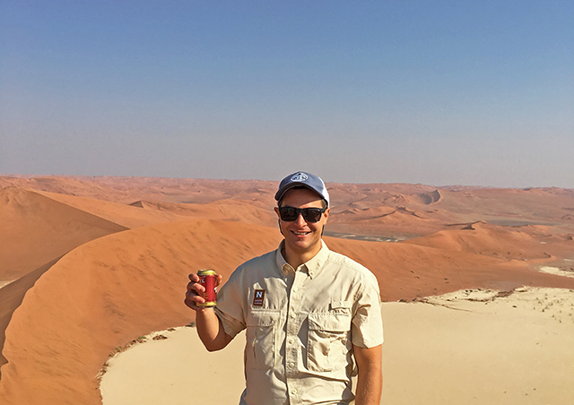 Atop the 'Big Daddy' sand dune within the vast Namib desert on The Great Namibia Wildlife Safari.