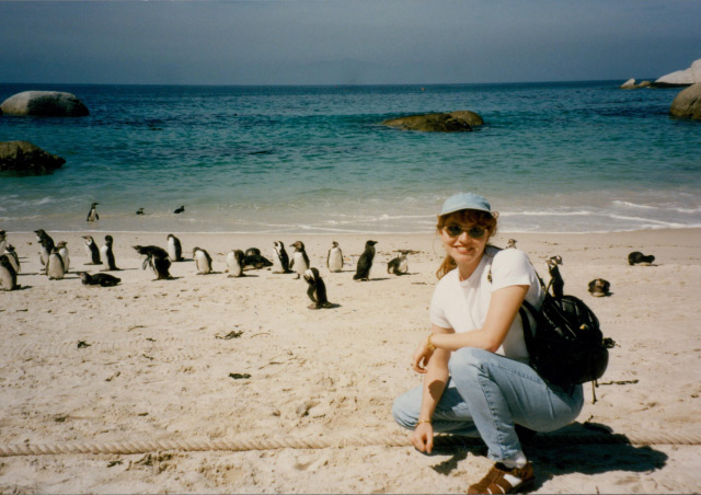 On the beach with penguins in South Africa.