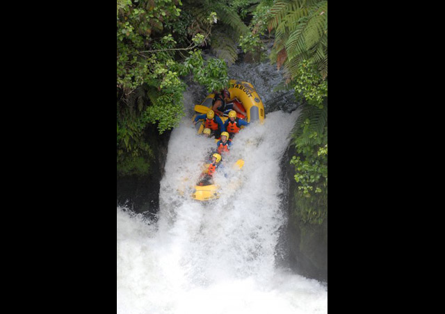 Taking the plunge over the highest raftable waterfall in New Zealand on the Kaituna River